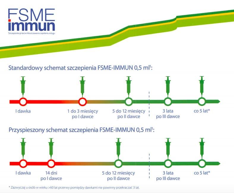 Kleszczowe zapalenie mózgu (KZM) - szczepionka firmy Pfizer - FSME Immun - schemat szczepienia