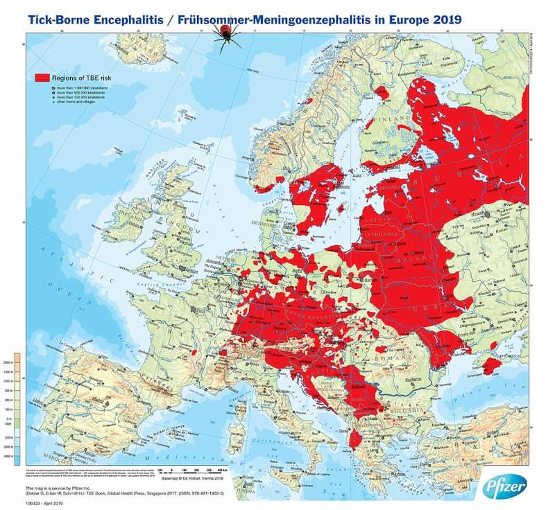 Kleszczowe zapalnie mózgu (KZM) - mapa występowania w Europie